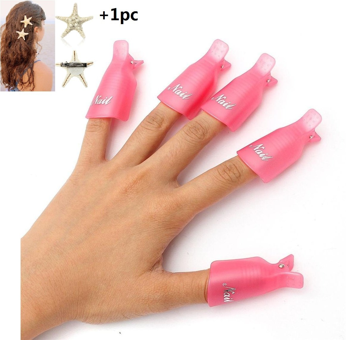 Malloom® 10 piezas arte de uñas de plástico empapa clip de cap ...