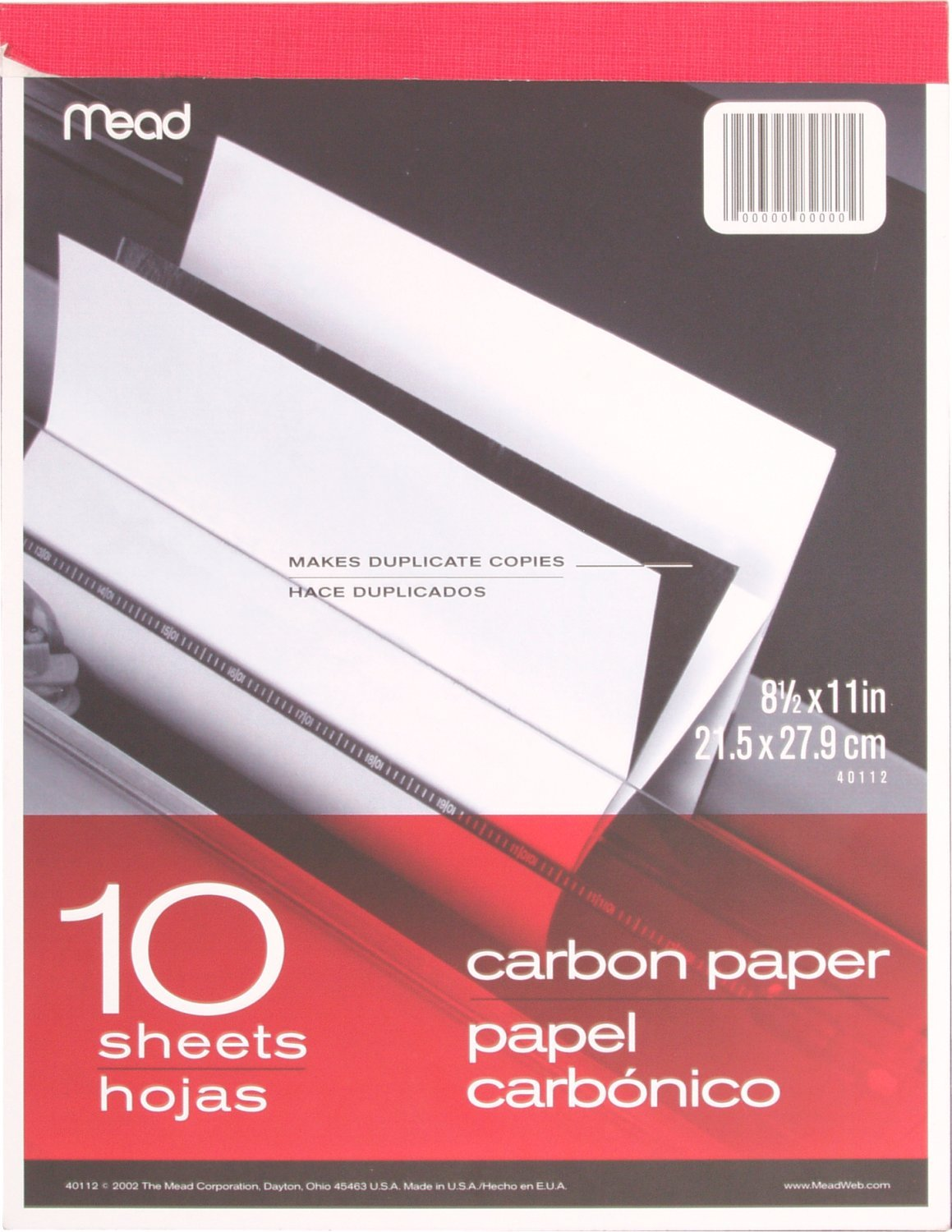 Mead 40112 8.5 x 11 10 Sheets 5 Pack Carbon Paper Tablet