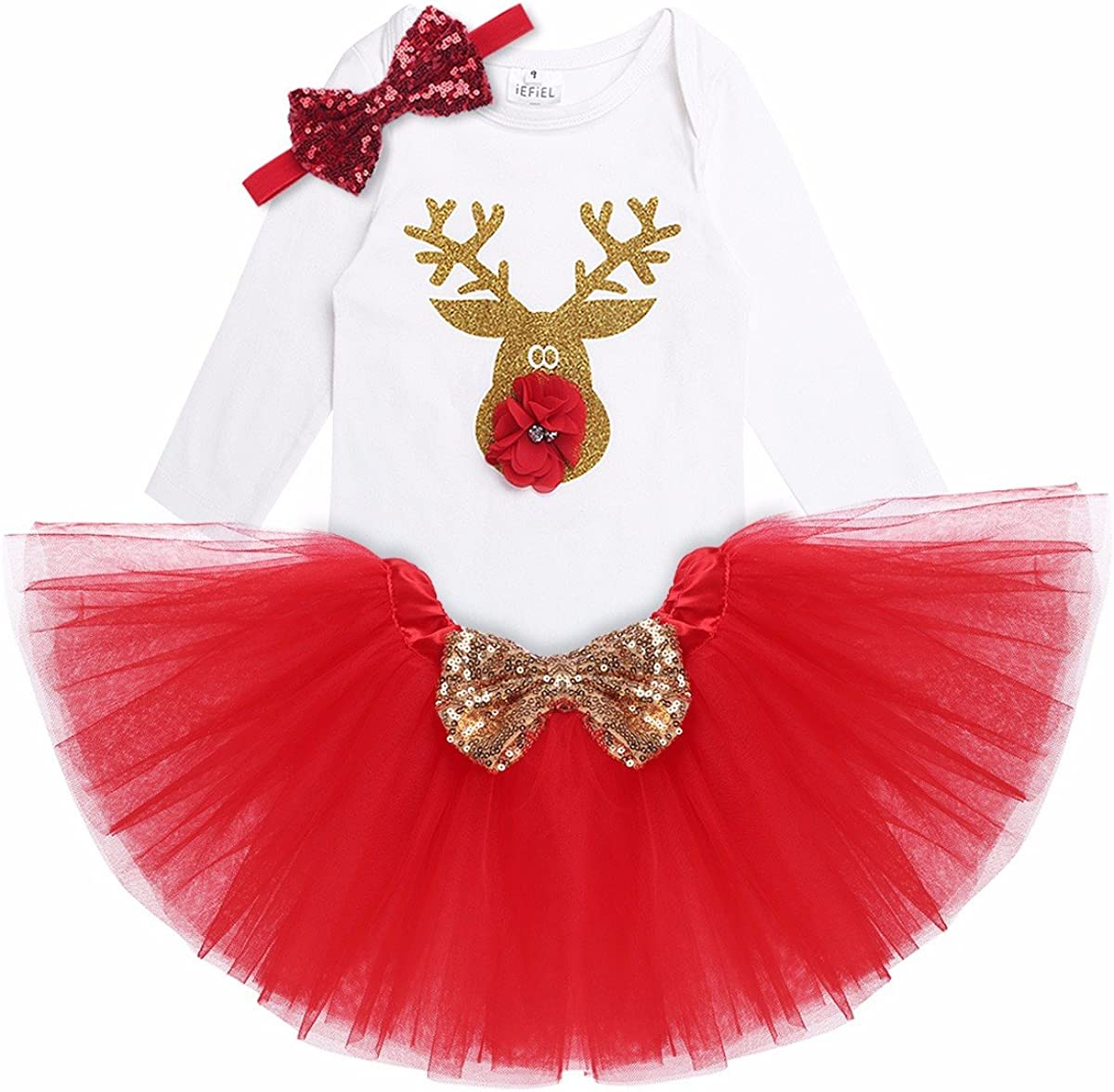 Freebily Conjunto de Navidad para Beb/é Ni/ña Pelele Body Falda Plisada Disfraz Vestido de Princesa Fiesta para Reci/én Nacido