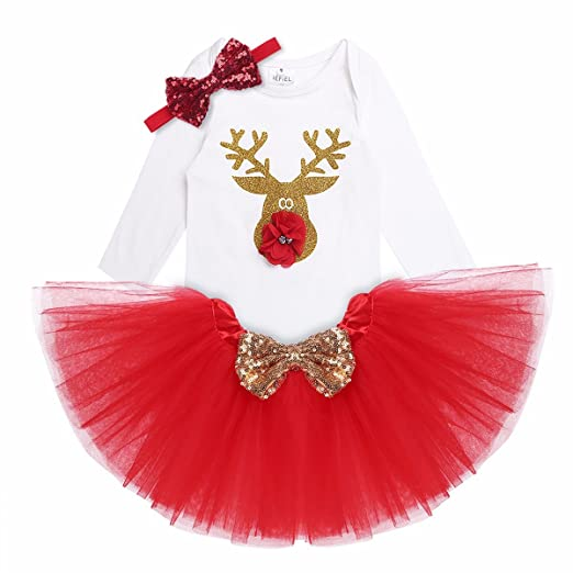 27f2b9f942e37 iEFiEL Baby Girls Christmas Outfit Long Sleeves Shiny Reindeer Romper with  Tutu Skirt Headband Xmas Costume