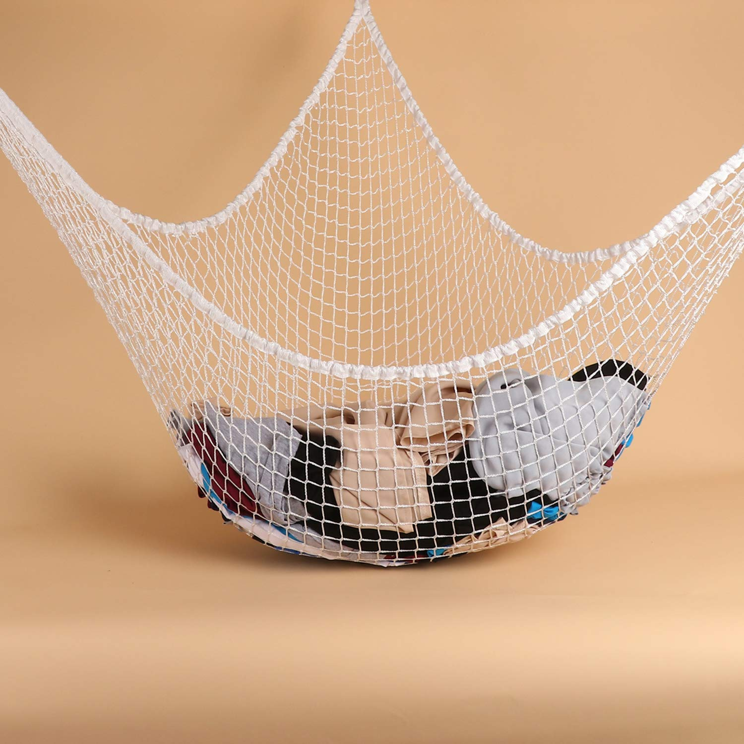 Toy Hammock Storage Net White LXUNYI Mesh Toy Net Holder Jumbo Wall Corner Giant Baby Kids Children Stuff animals Hammocks Net Organizer for Bedroom Stuffed Animal Hammock