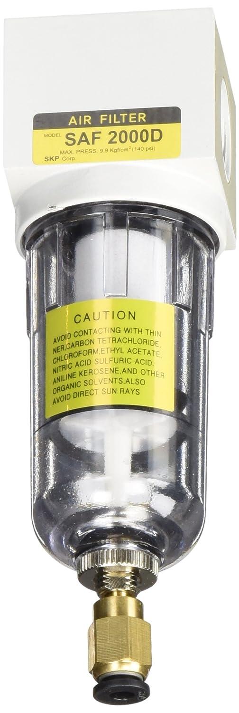 PneumaticPlus SAF2000M-N02BD Miniature Compressed Air Particulate Filter 1/4 NPT - Poly Bowl, Auto Drain, Bracket