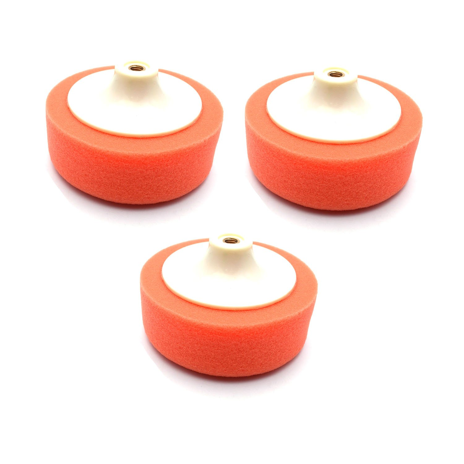 Antrader 5 Inch Sponge Polishing Pad 10mm Thread Foam Waxing Disc for Car Beauty Buffing Orange 3pcs
