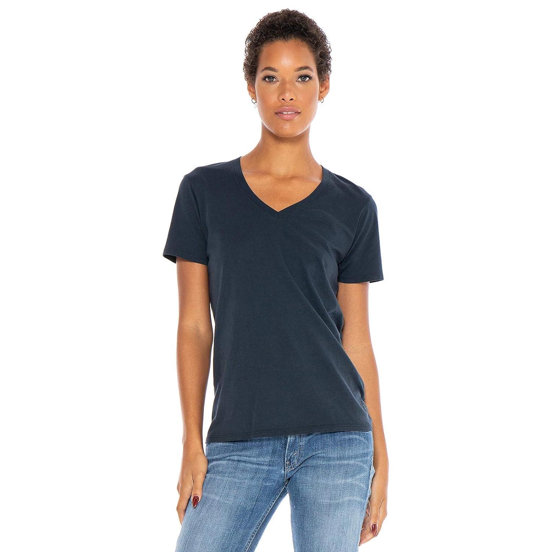 Navy bluee Women's Designer TShirt Lightweight Boyfriend Fit Short Sleeve VNeck Organic Cotton PreShrunk Embroidered Made in USA