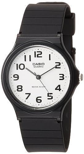 CASIO 2729 MQ-24-7B - Reloj Caballero Cuarzo Correa Caucho Negro dial Blanco: Amazon.es: Relojes