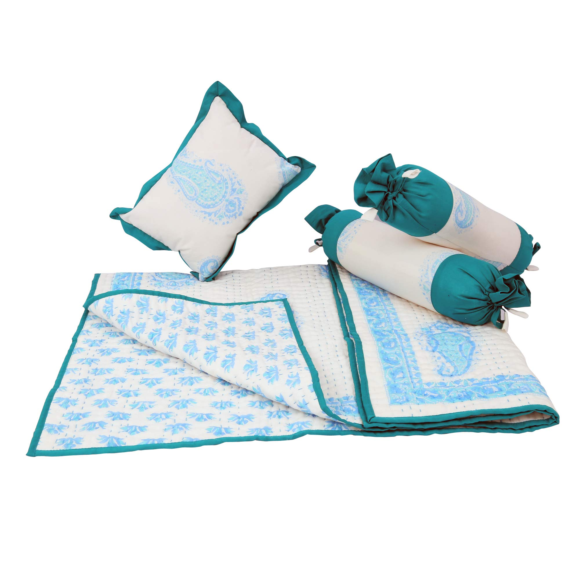 HandBlock printed Reversible Quilt Set with matching bolster and Pillow. Kantha Hand Quilting