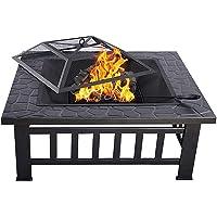 HENGMEI 3 en 1 Brasero de Exterior 81cm Metal Fire Pit Calentador de Fuego Cuenco…