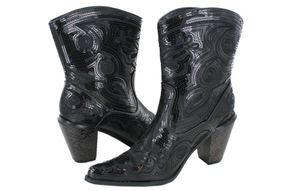 Helens Heart Women's Sparkle Sequin Bling Short Western Cowgirl Boots B01DYKFGKG 5 B(M) US Black