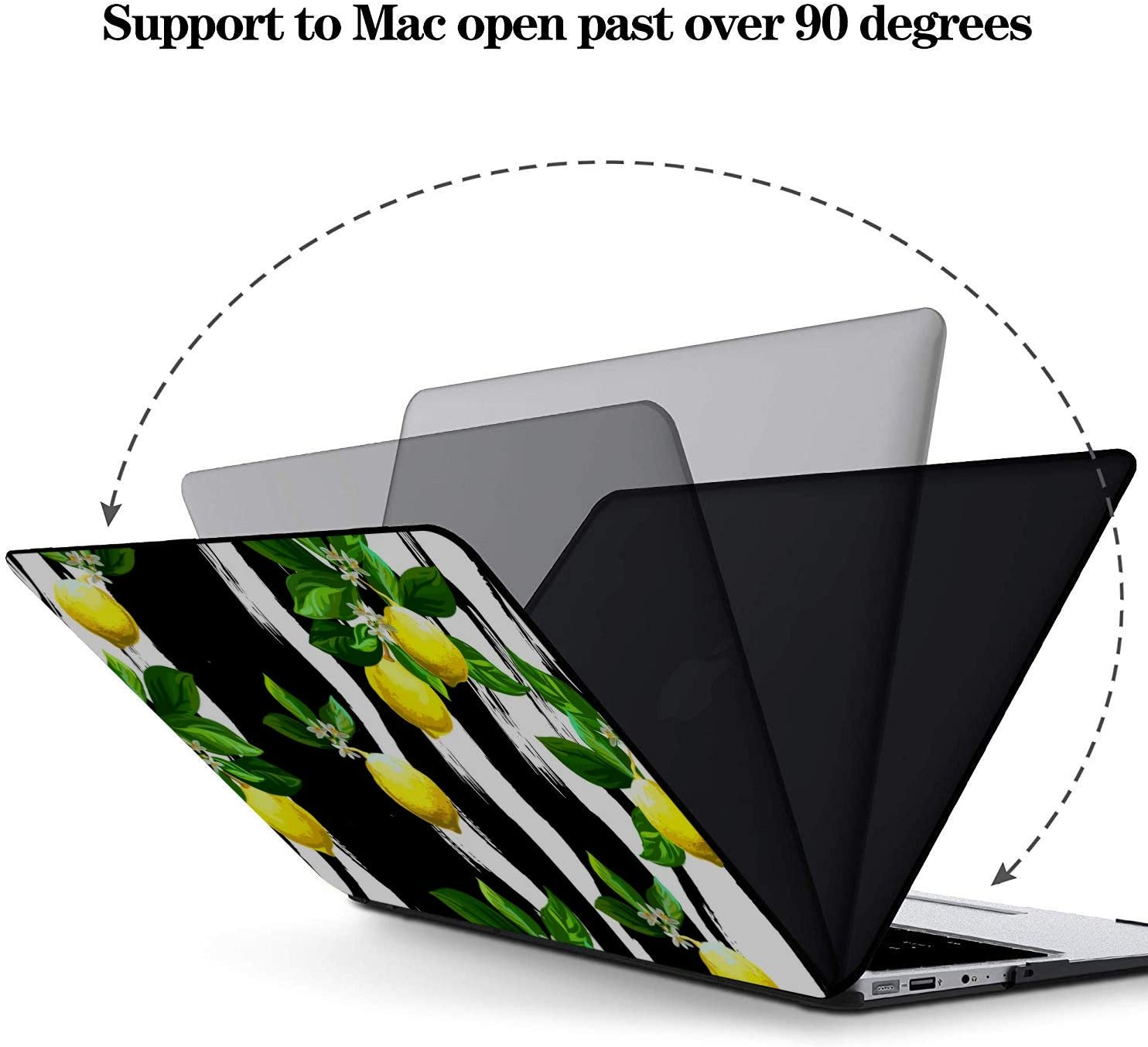 MacBook Pro Shell Case Summer Fashion Flower Fruit Lemon Plastic Hard Shell Compatible Mac Air 11 Pro 13 15 Mac Pro Cover Protection for MacBook 2016-2019 Version