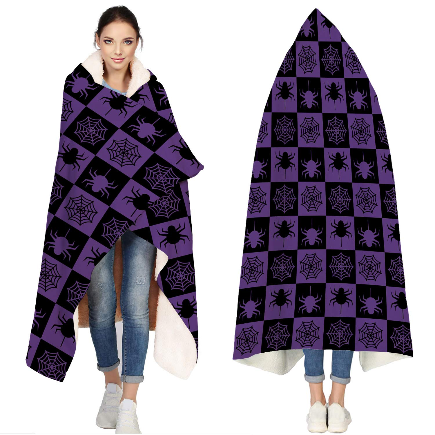 SUN-Shine Happy Halloween Sherpa Hooded Blanket, Wrap Soft Flannel Fleece Wearable Throw Hoodie Blankets for Kids Adults Girls Boys, Black and Purple Spider and Webs by SUN-Shine