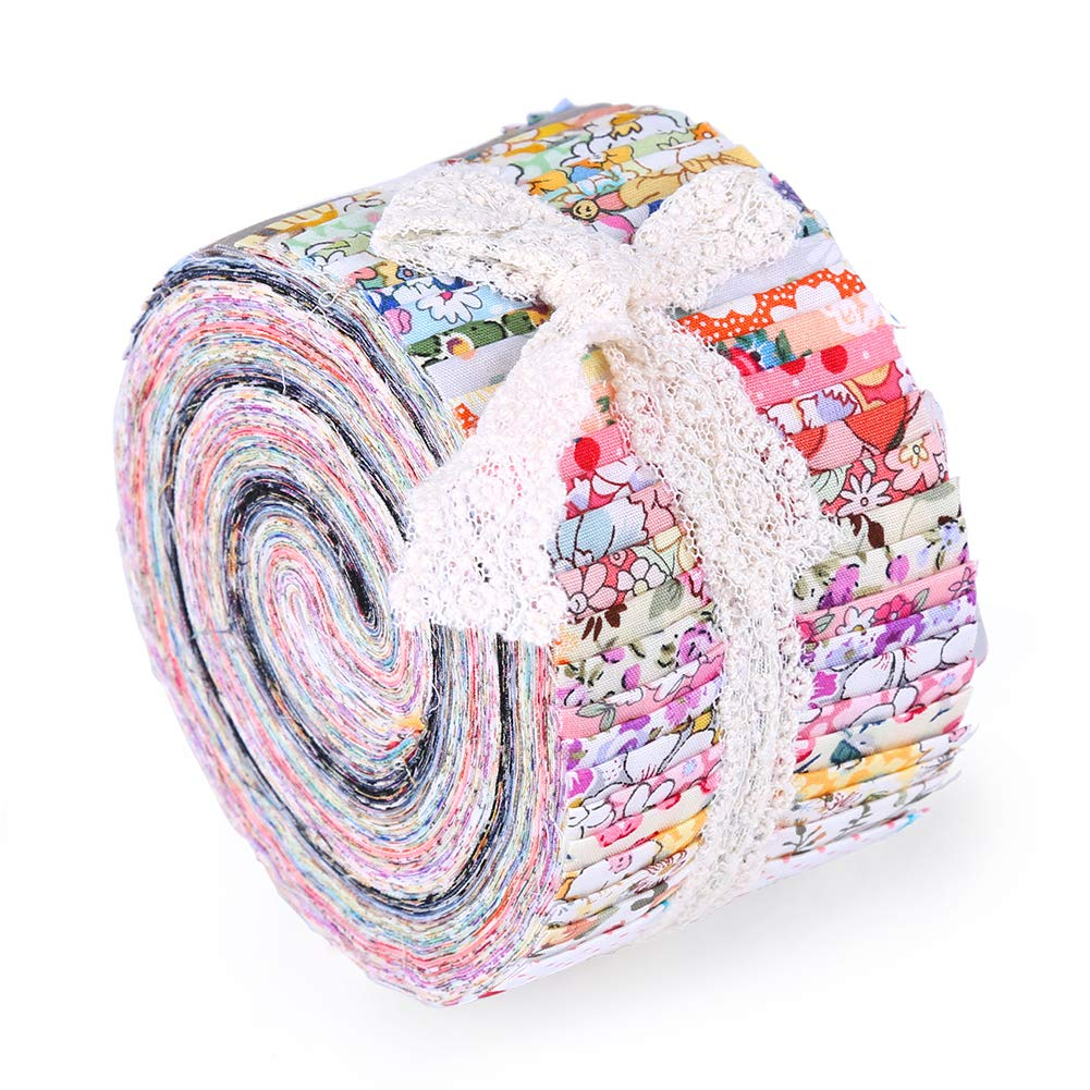 Jelly Roll Fabric Strips for Quilting Patchwork Craft Cotton Quilting Fabric Patchwork for Crafting 26 Pcs Fabric Jelly Rolls Quilting Fabric with Different Patterns