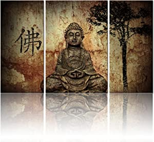 Visual Art, Buddhist Love, 3pcs Framed and Ready Wall Hang, Buddha Canvas Prints, Home Decor Paintings