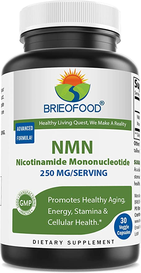 Brieofood NMN Nicotinamide Mononucleotide 250mg/Serving, 30 Veggie Capsules