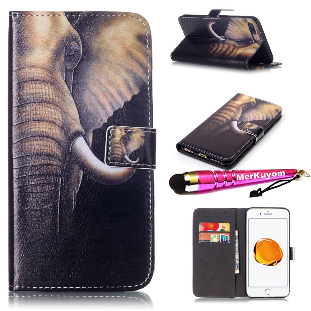 iPhone 8 Plus - Case, iPhone 7 Plus - Case, MerKuyom [Kickstand] Premium PU Leather Wallet Pouch Flap Cover Skin Case For Apple iPhone 7 Plus/iPhone 8 Plus 5.5'', Stylus (Cool Elephant Head)