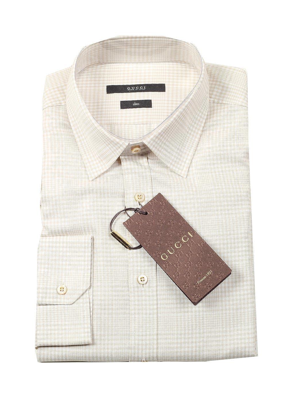 Gucci CL Checked Beige Dress Shirt Size 39/15, 5 U.S.: Amazon.es ...