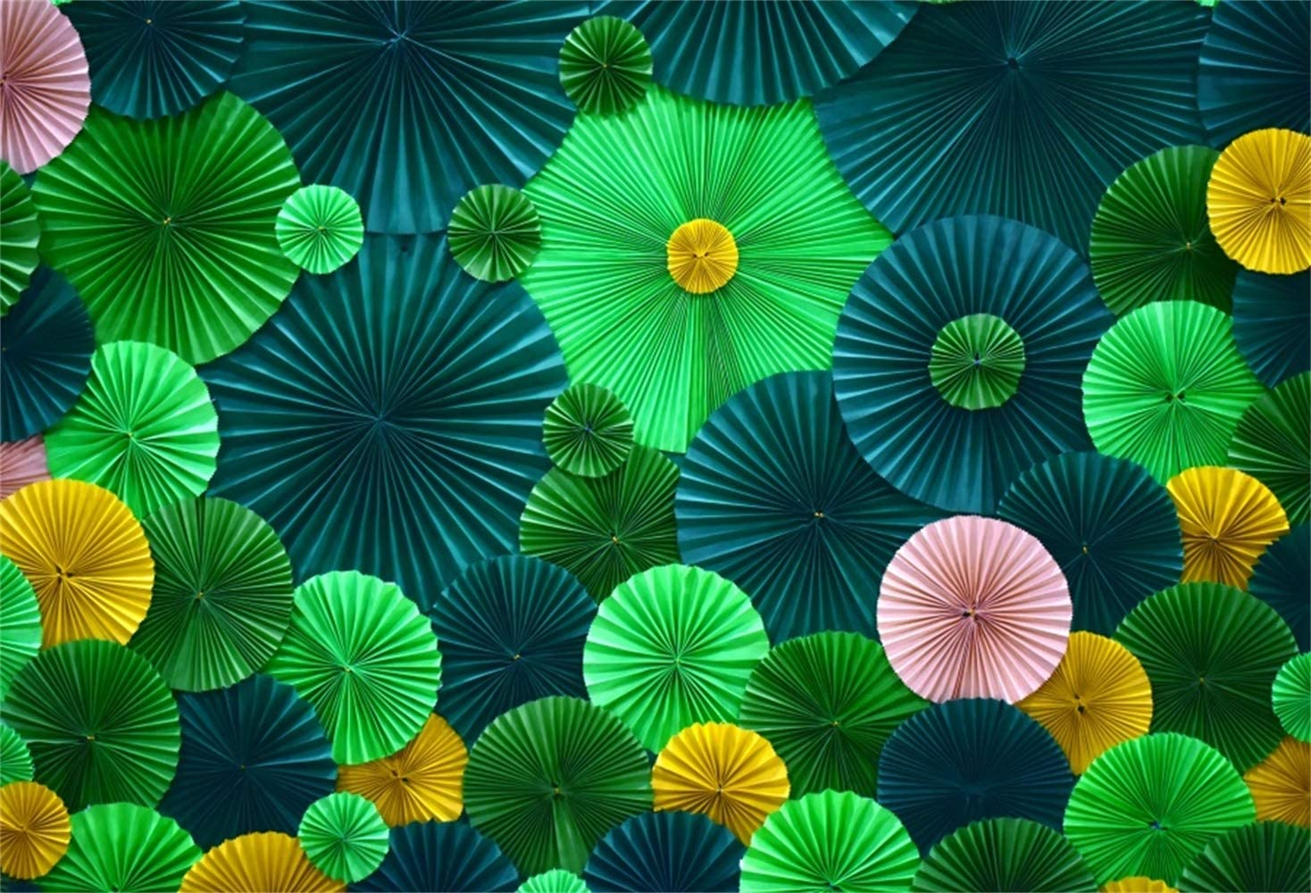 Laeacco Green Tone Handmade Round Paper Flowers 7x5ft Vinyl Photography Background Artistic Portrait Shoot Backdrop Birthday Party Banner Wedding Shoot Indoor Decoration Wallpaper Studio Props
