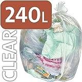 Alina, sacchetti per la spazzatura da 240 l in polietilene trasparente resistente, per bidone della spazzatura con ruote, sacco compattatore ENSA, 100 sacks