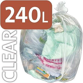 Bolsa de plástico transparente resistente Alina, 240 litros, para contenedores con ruedas