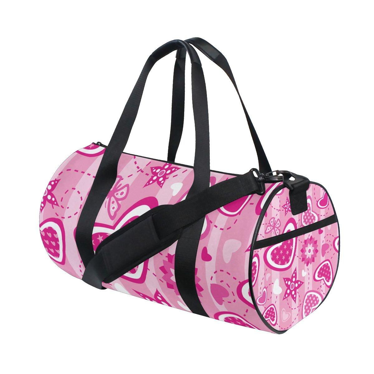 U LIFE Spring Summer Valentines Day Love Heart Butterfly Stars Sports Gym Shoulder Handy Duffel Bags for Women Men Kids Boys Girls