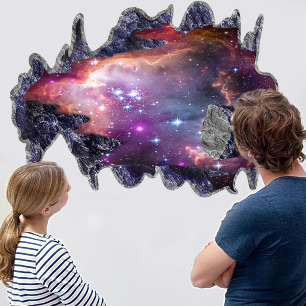 Lamp light wall art decor removable mural vinyl decal sticker purple - Amazon Com Chans 3d Outer Space Galaxy Meteorites Wall Stickers Removable Vinyl Wall Art Murals Diy Home Decals Home Kitchen