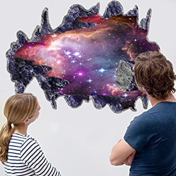 CHANS® 3D Outer Space Galaxy Meteorites Wall Stickers,Removable Vinyl Wall  Art Murals,