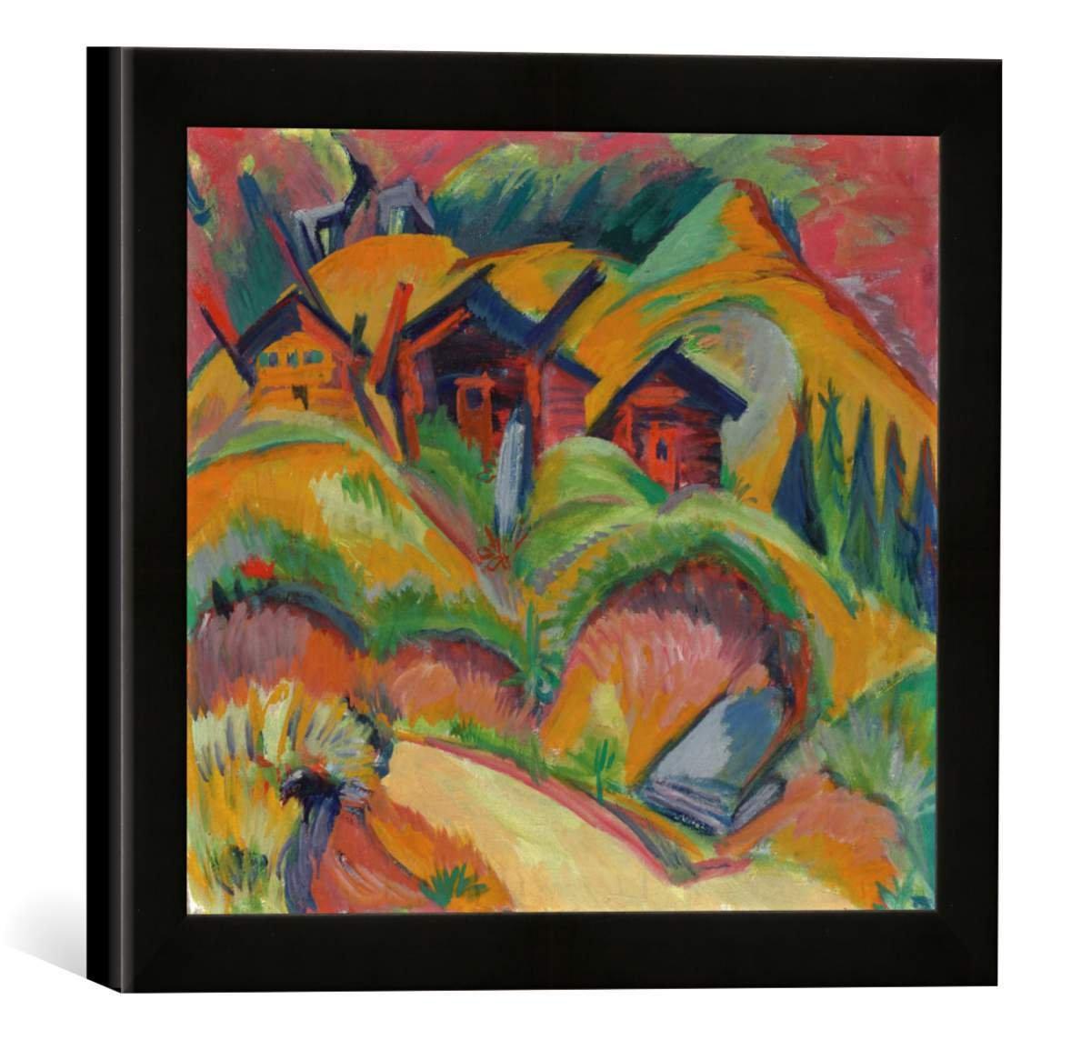 Gerahmtes Bild von Ernst Ludwig Kirchner DREI Hütten am Hügel, rote Hütten, Kunstdruck im hochwertigen handgefertigten Bilder-Rahmen, 30x30 cm, Schwarz matt