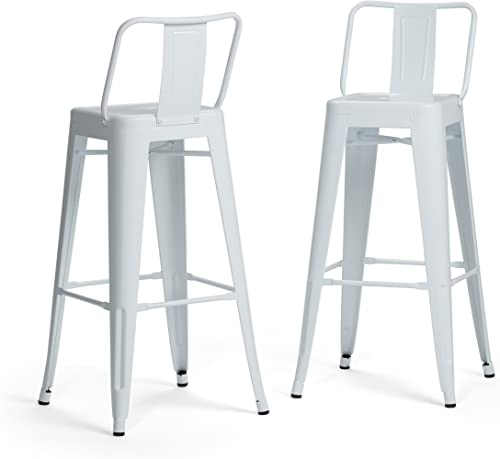 Simpli Home AXCRAY30-01-WH Rayne Industrial Metal 30 inch Bar Stool Set of 2 in White