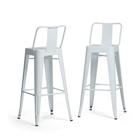 Awe Inspiring Simpli Home Axcray30 01 Wh Rayne Industrial Metal 30 Inch Bar Stool Set Of 2 In White Andrewgaddart Wooden Chair Designs For Living Room Andrewgaddartcom