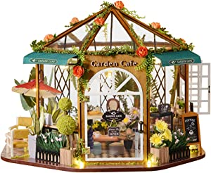 CUTEBEE Dollhouse Miniature with Furniture, DIY Wooden Dollhouse Kit Plus Dust Proof, 1:24 Scale Creative Room Idea (Garden Cafe)