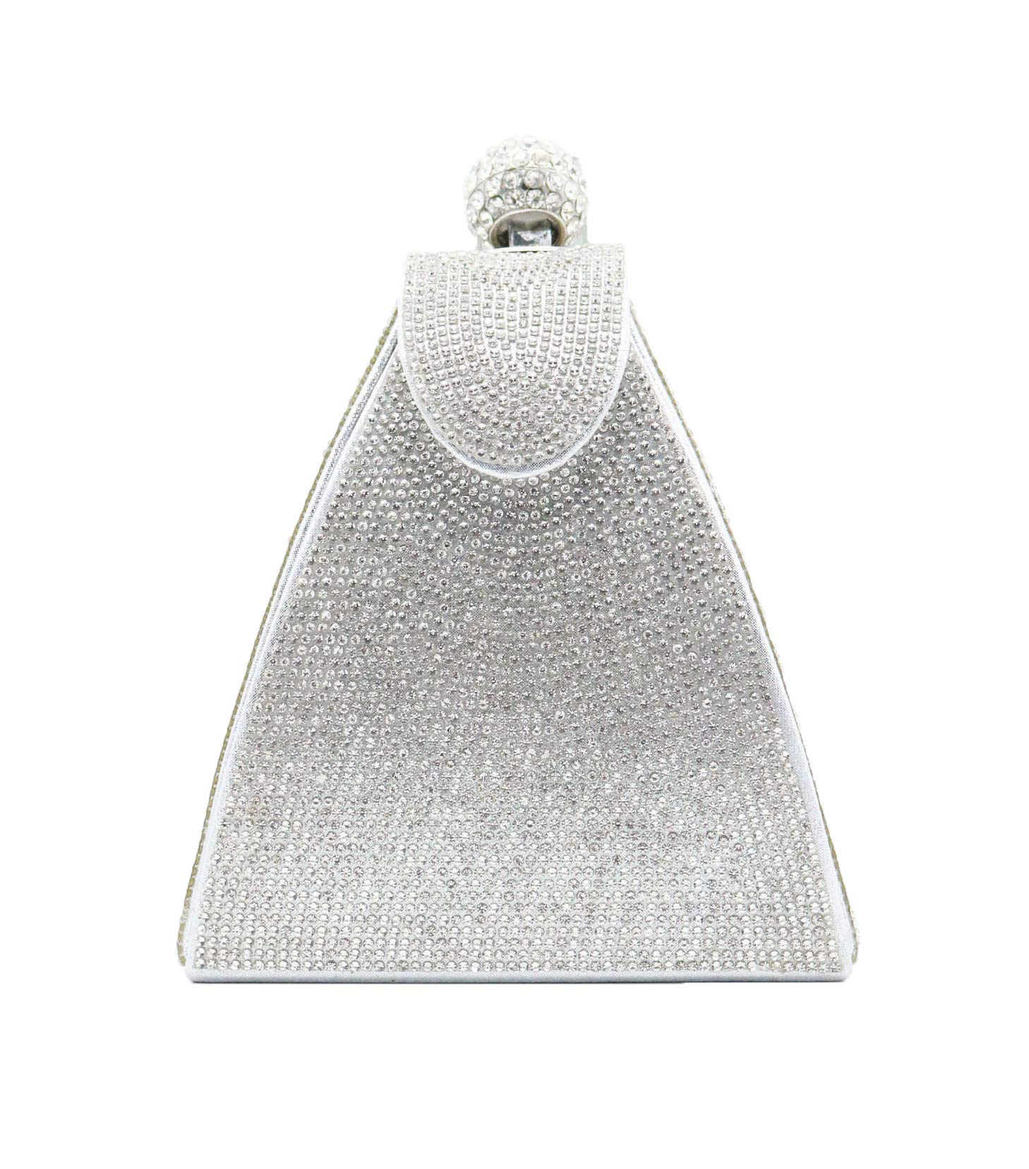 allx Full Rhinestone Fashion Evening Bag Triangle Women (Simple silver)