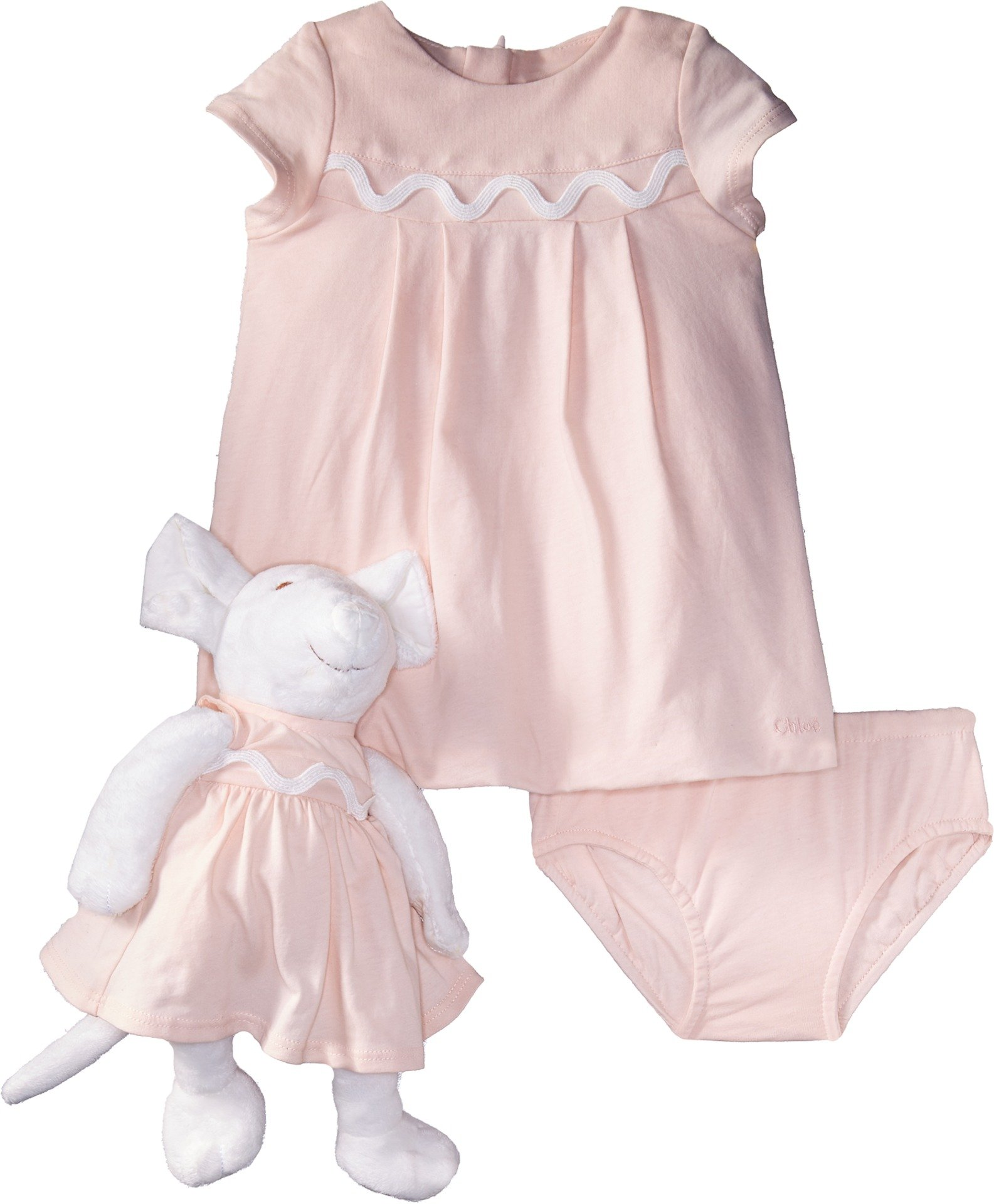 Chloe Kids Baby Girl's Newborn Dress/Bloomer/Mouse Toy Set (Infant) Rose Pale Suit