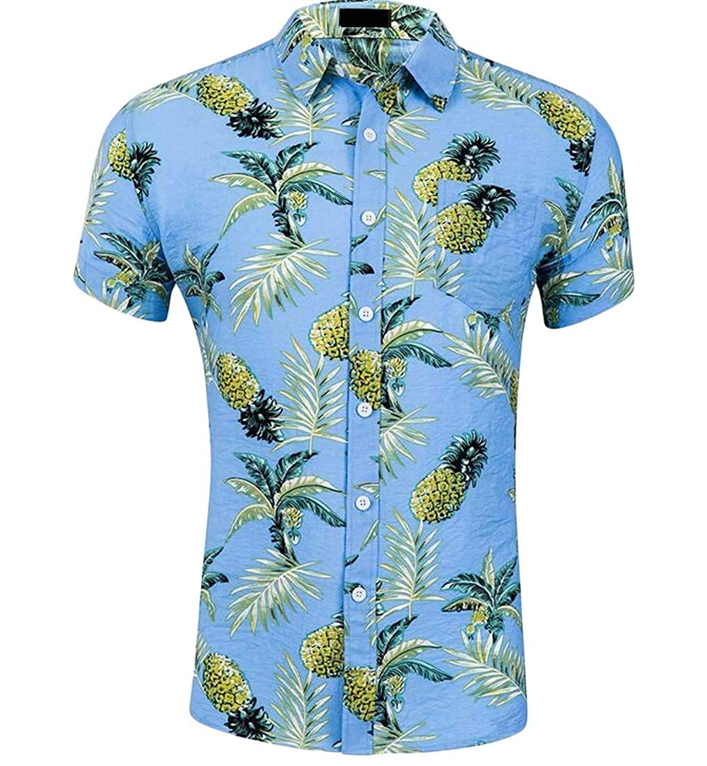 Etecredpow Men Summer Short Sleeve Holiday Beach Hawaiian Printed Shirts