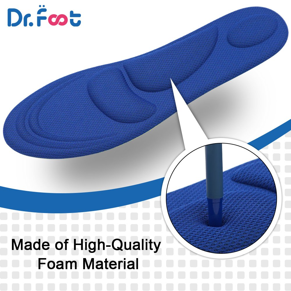 Dr. Foot\'s Arch Support Insoles, Help against Plantar Fasciitis, Metatarsal and Heel Pain, diabetic Anti-Sweat Foam Comfortable Insoles for Shock Absorption (L | 7~12 US Men\'s, Blue)