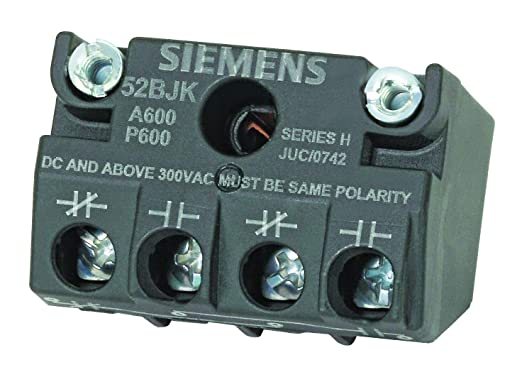 1NO Siemens 52BT6L3A Heavy Duty Push To Test Pushbutton Water and Oil Tight Green 24VAC//VDC Voltage 1NC Contact Blocks Illuminated