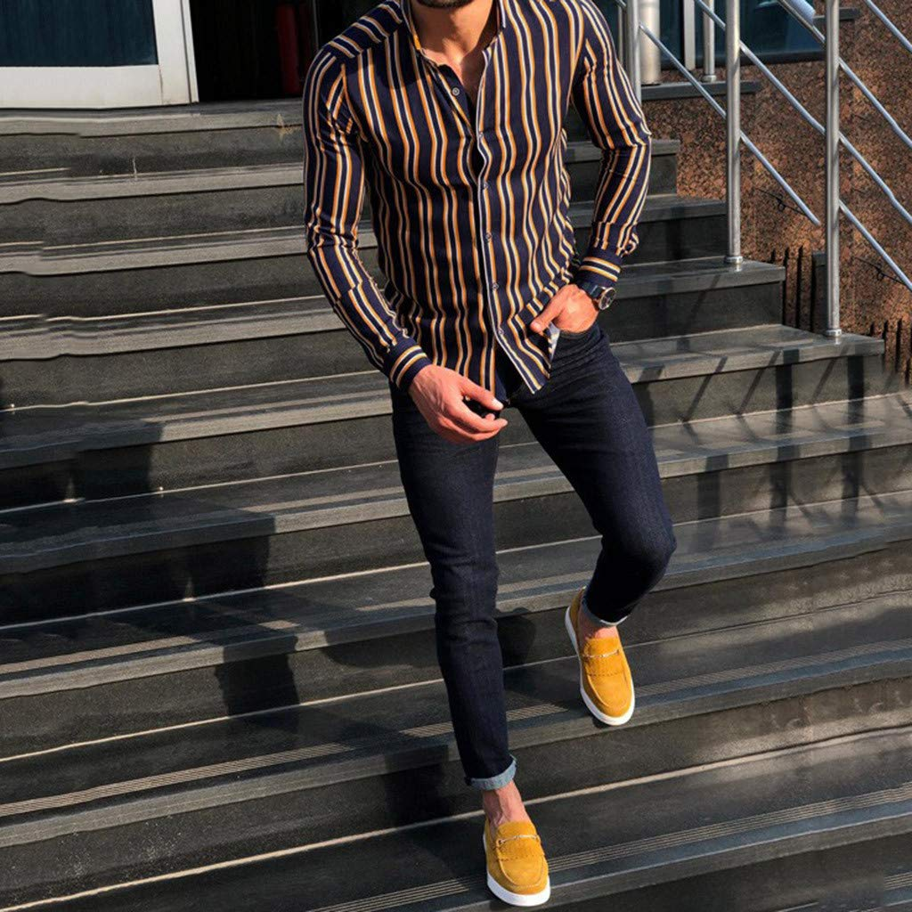 Uqiangy Mens Autumn Loose Fashion Casual Daily Printed Long Sleeve Striped Shirt Top Blouse