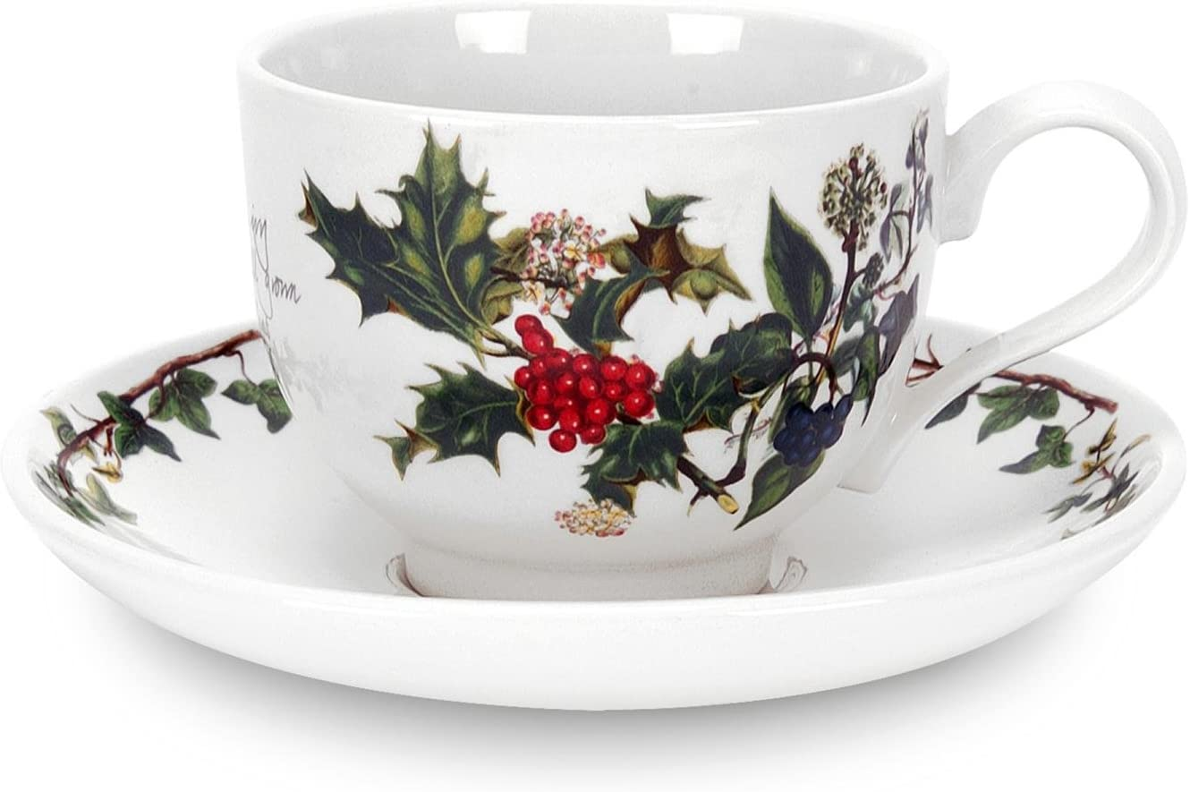 Portmeirion Holly and Ivy Teacup and Saucer Set of 6