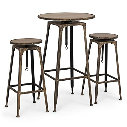 Belleze Adjustable Pub Table And Stools Vintage Antique Bistro High  Industrial Chair, 3 Piece