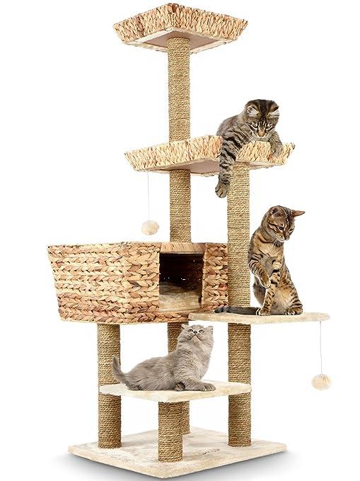 Leopet - Rascador árbol de gatos con cueva de mimbre - altura 141 cm - Beige