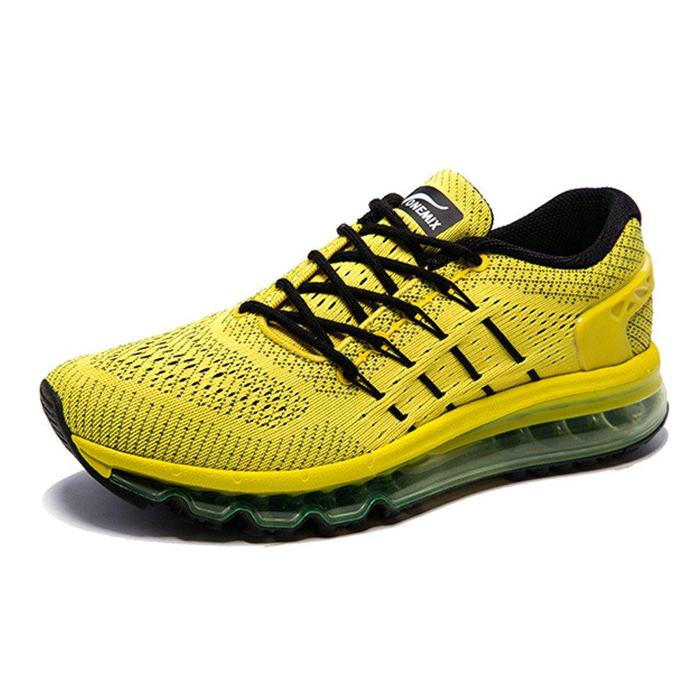 Onemix Hombre Mujer Air Mojadura Atlético Unisex Adulto Respirable Gimnasio Zapatos Para Correr 43 EU|Amarillo negro