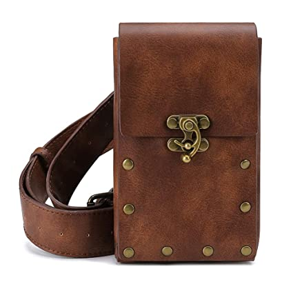 Steampunk Vintage Fashion Waist Bag Fanny Pack Leather Gothic Belt Pouch Cellphone Purse Holster Travel Wallet Case Festival Party Props For Women Men