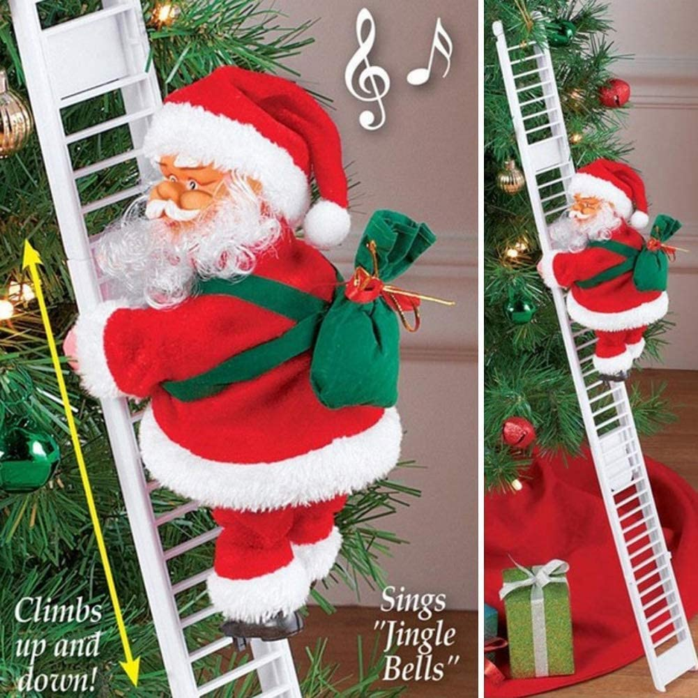 Stonecho Electric Santa Climbing Ladder to Tree, Climbing Up and Down Santa Claus on Ladder with Music and Bag of Presents Tree Holiday Party Home Door Wall Decoration Xmas Ornament Toys
