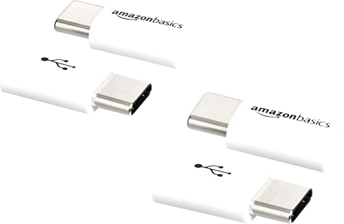 AmazonBasics Micro USB (Female) to USB-C (Male) Adapter - White, 4-Pack