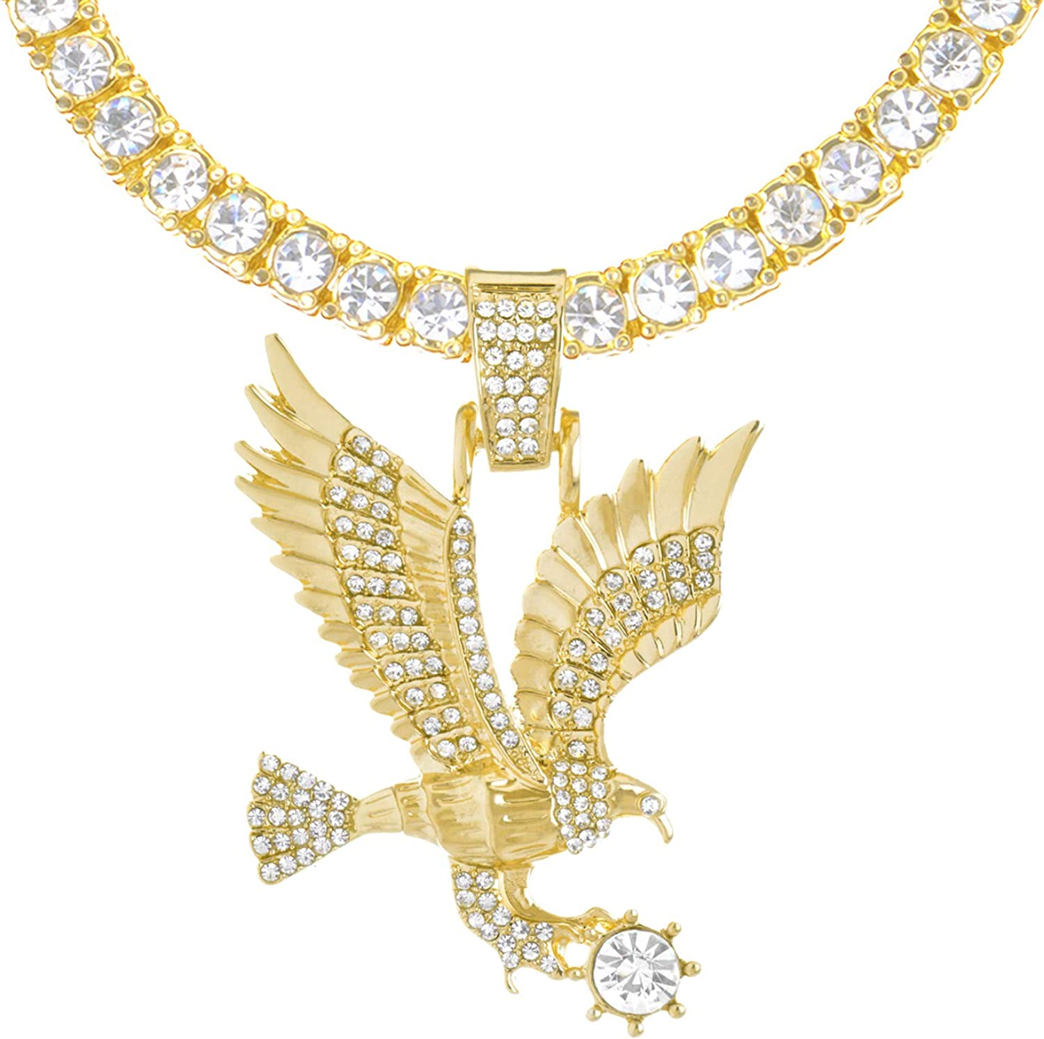 NEW Bird Eagle Hawk Canary Flight with Ring Wings Silver Charms Necklace