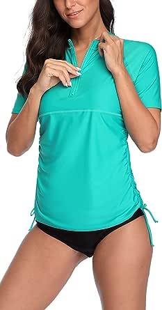 ATTRACO Women Short Sleeve Rash Guard Half-Zip Adjustable ...