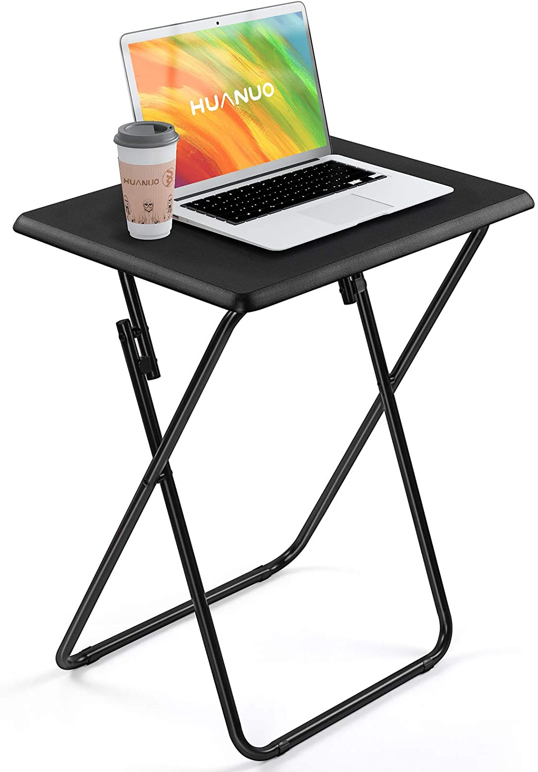 HUANUO Folding TV Tray Table -Stable Tray Table with No Assembly Required, TV Dinner Tray for Eating, Foldable Snack Tables for Bed & Sofa, Home & Office Use