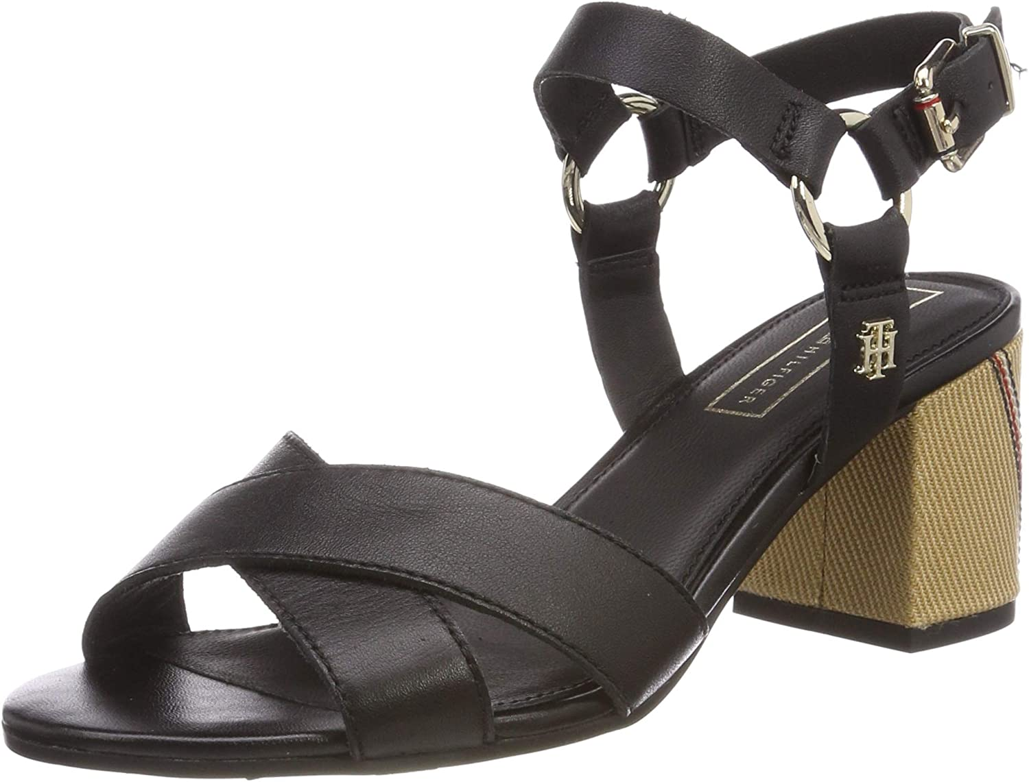 Tommy Hilfiger Elevated Leather Heeled Sandal, Sandalias con Plataforma para Mujer