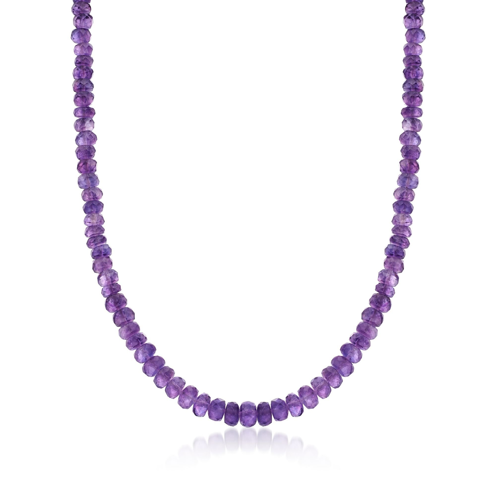 Ross-Simons Amethyst Bead Necklace With Sterling Silver