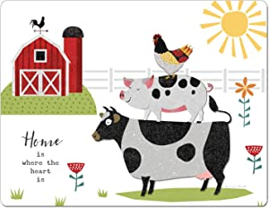 """Chop Chop Designer Printed Flexible Cutting Board Mat, Made in the USA of BPA Free Food Grade Plastic, Farm Charm by Suzanne Nicoll,15"""" x 11.5"""""""