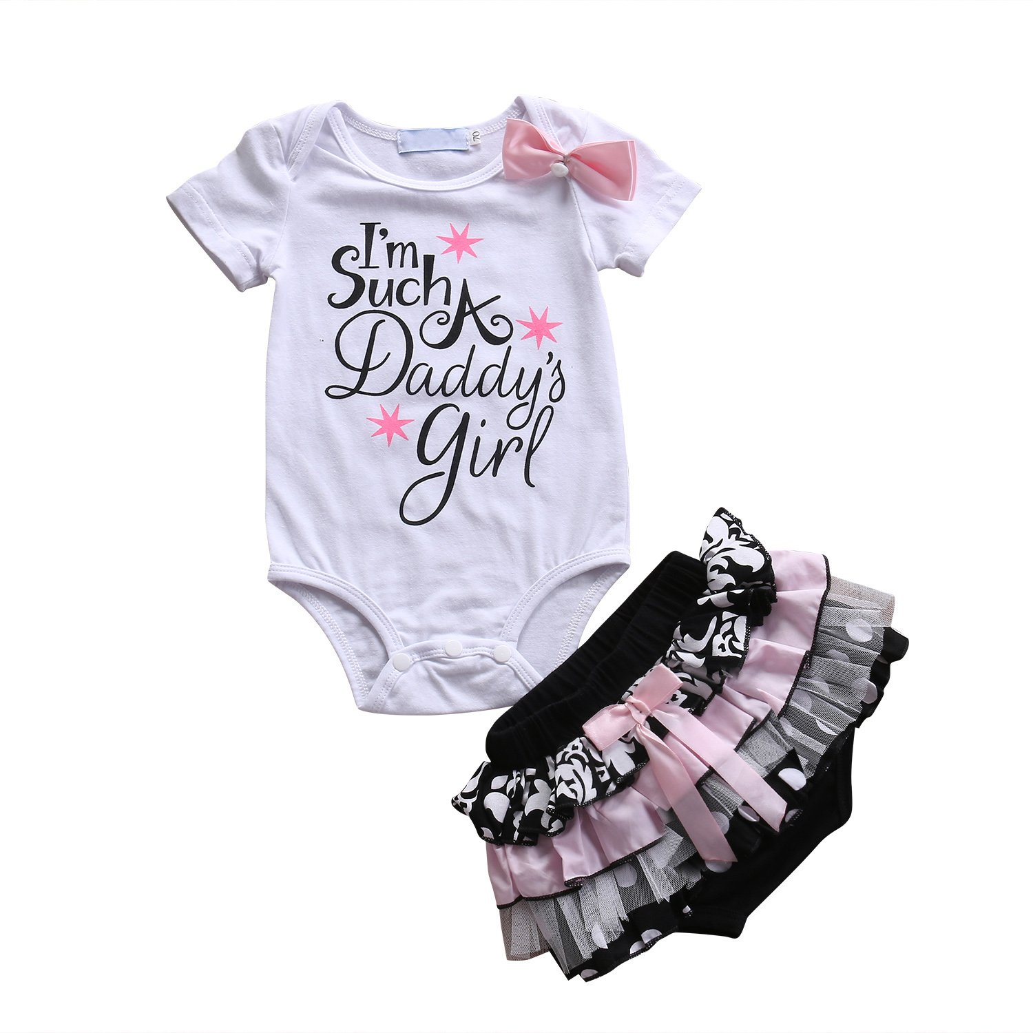 Cute Baby Girl Daddy¡¯s Girl Print Bow Romper+Multi-Tulle Ruffle Bowknot Shorts