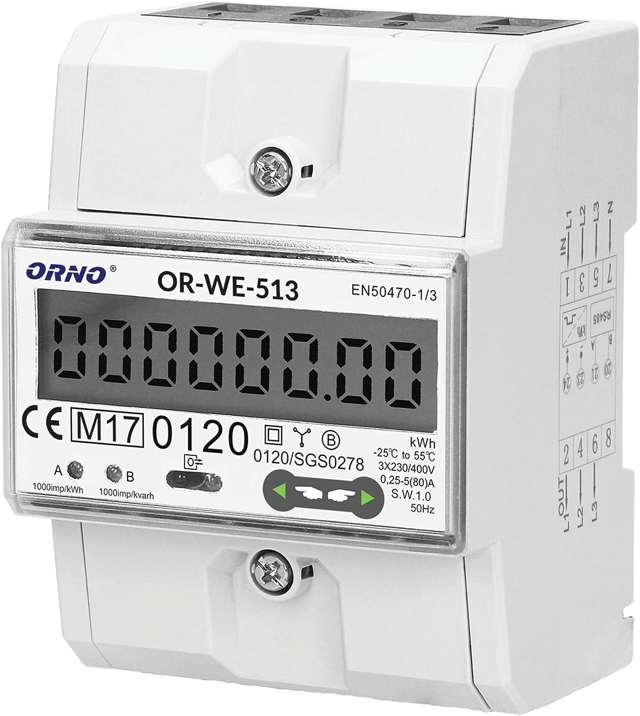 ORNO WE-513 Medidor De Consumo Electrico DIN carril para sistemas trif/ásicos con certificado MID 0.25A 1000 imp//kWh 80A.3 x 230V//400V 50//60Hz
